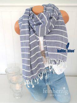 xl schal tuch balticblue baumwolle viskose maike blau weiss streifen fransen