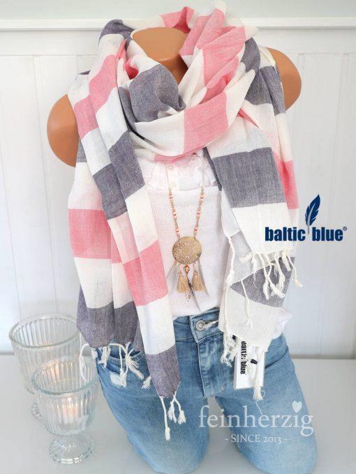 xl schal tuch balticblue rieke baumwolle viskose blau rosa weiss fransen