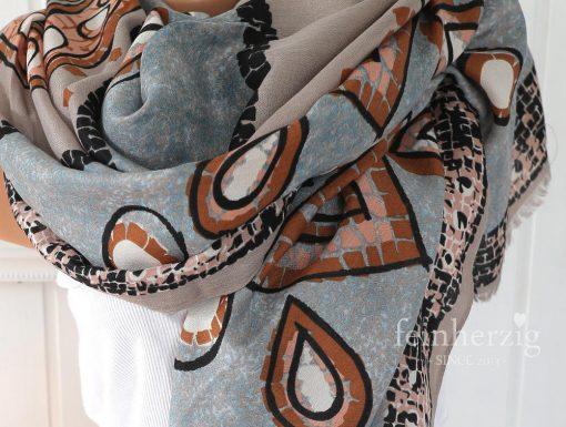 xl schal tuch blau beige muster print kreise 2