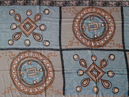 xl schal tuch blau beige muster print kreise 3