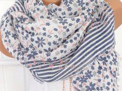 xl schal tuch blau rosa blumen streifen pailletten fransen 1