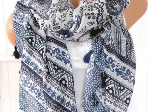 xl schal tuch blau weiss bohemian print quasten baumwolle 1