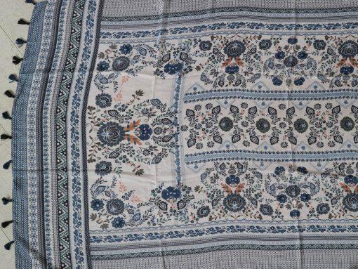 xl schal tuch blau weiss bohemian print quasten baumwolle 3