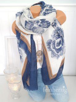 xl schal tuch blau weiss cognac blumen floral fransen