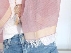 xl schal tuch rosa baumwolle modal fransen prekopp 1