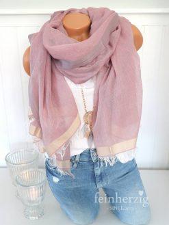 xl schal tuch rosa baumwolle modal fransen prekopp