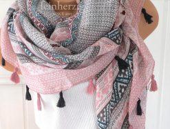 xl schal tuch rosa grau bohemian print quasten baumwolle 1
