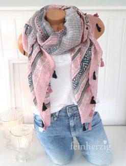 xl schal tuch rosa grau bohemian print quasten baumwolle 2