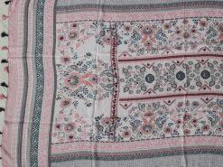 xl schal tuch rosa grau bohemian print quasten baumwolle 3