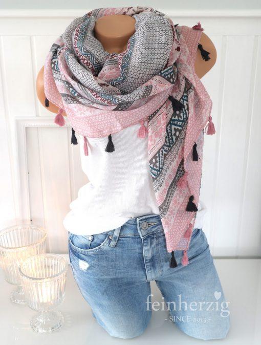 xl schal tuch rosa grau bohemian print quasten baumwolle
