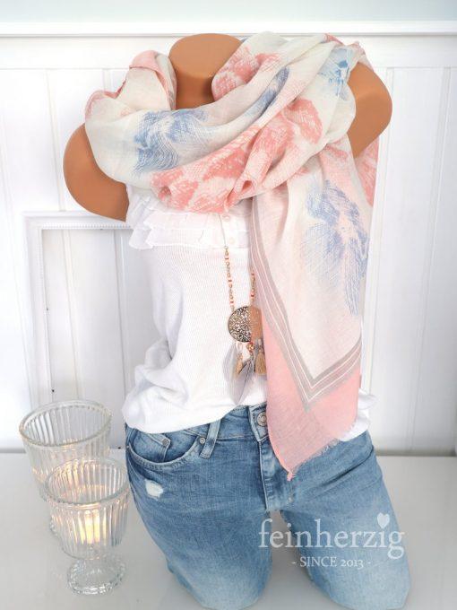 xl schal tuch rosa weiss blau blumen floral fransen 1
