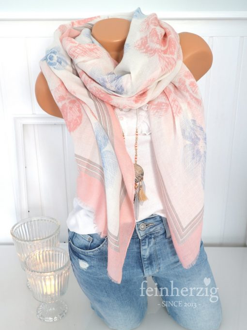 xl schal tuch rosa weiss blau blumen floral fransen