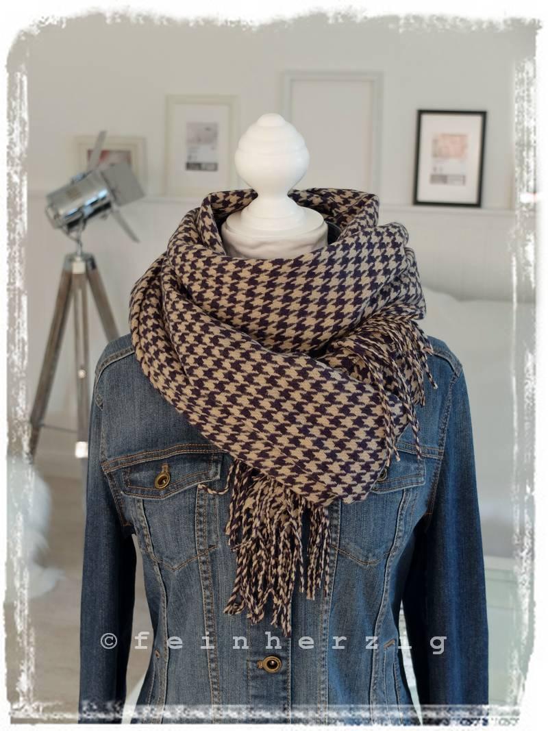 xxl schal mit wolle hahnentritt blau beige plaid scarf. Black Bedroom Furniture Sets. Home Design Ideas