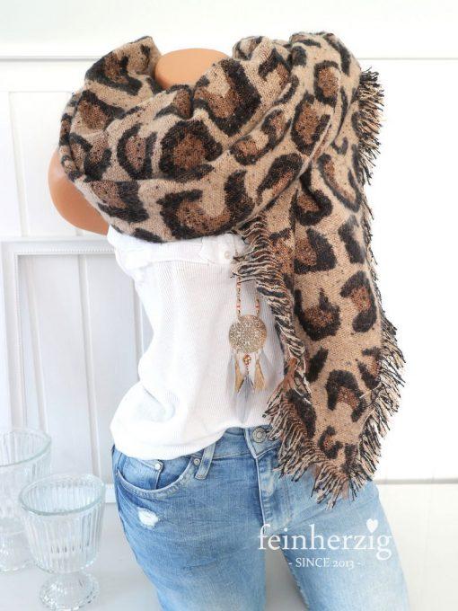 xxl schal leo braun beige fransen boucle leopard