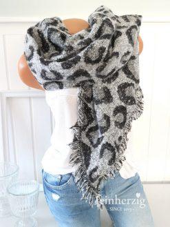 xxl schal leo grau schwarz fransen boucle leopard