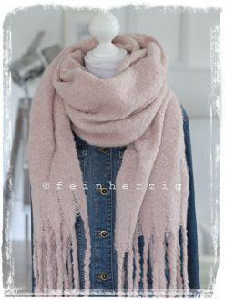 xxl schal rosa puderrosa flausch fransen