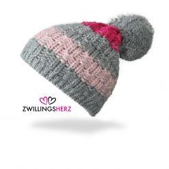 zwillingsherz beanie muetze bommel grau rosa pink strick fleece futter
