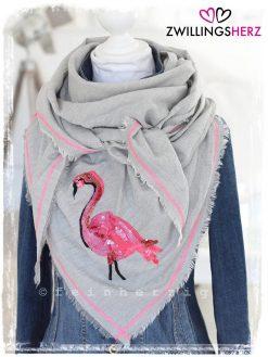 zwillingsherz dreieckstuch flamingo pailletten pink rosa hellgrau fransen