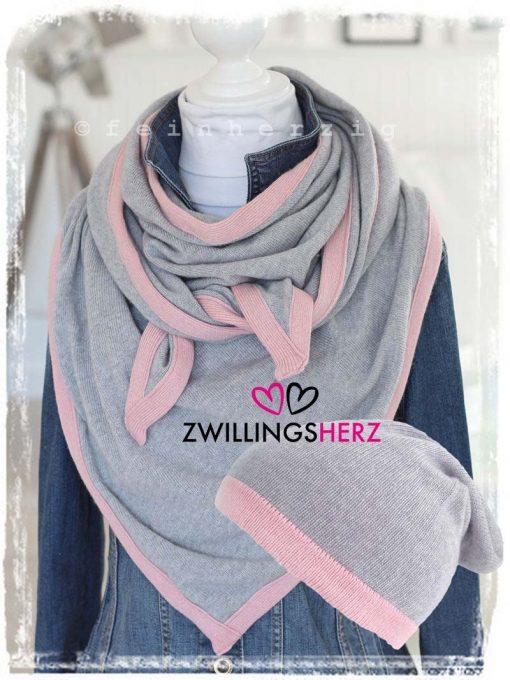 zwillingsherz dreieckstuch grau rosa kaschmir set2