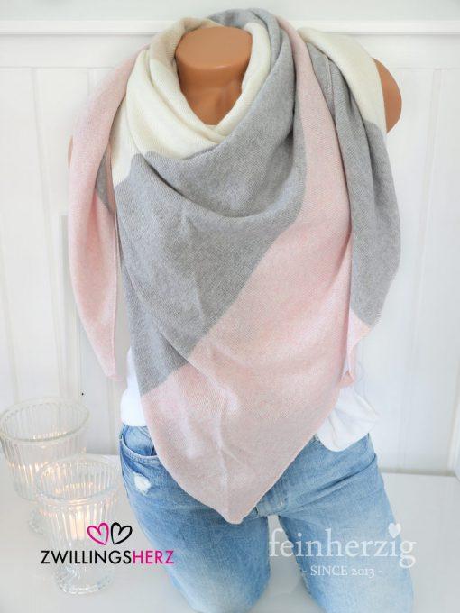 zwillingsherz dreieckstuch kaschmir rosa grau beige wolle cashmere
