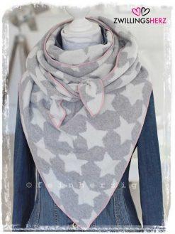zwillingsherz dreieckstuch luisa mit sternen mit kaschmirwolle in der farbe grau mit rosa kante
