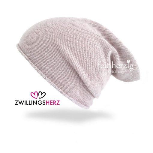 zwillingsherz mütze mit kaschmirwolle in der Farbe Altrosa