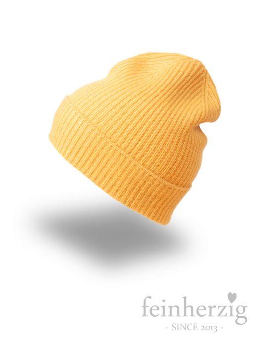zwillingsherz-muetze-beanie-gelb-gerippt-100-kaschmir