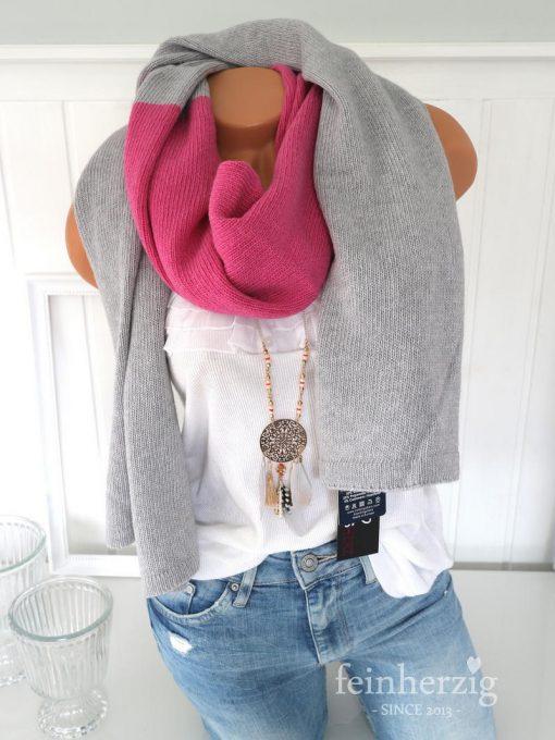zwillingsherz schal in der Farbe grau pink mit kaschmirwolle