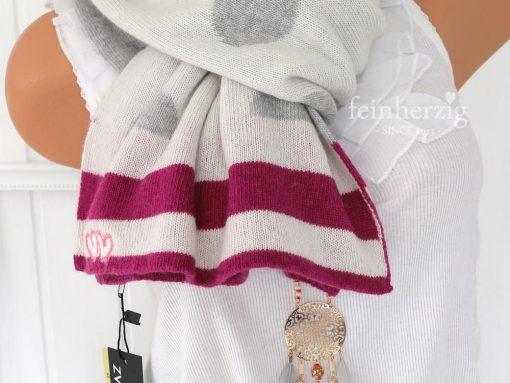 zwillingsherz schal sternenfänger in der Farbe pink grau mit weissen punkten mit kaschmirwolle wendeschal 4
