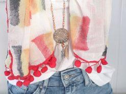 zwillingsherz xl schal tuch batik rot grau gelb aquarell bommel 1