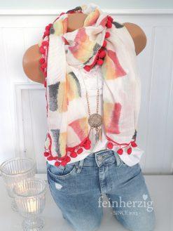 zwillingsherz xl schal tuch batik rot grau gelb aquarell bommel