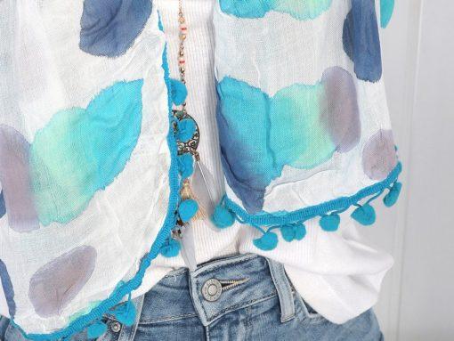zwillingsherz xl schal tuch batik türkis blau aquarell bommel 1