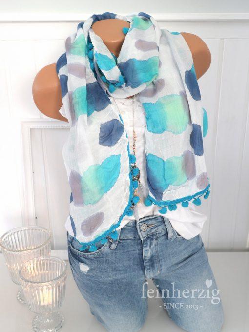 zwillingsherz xl schal tuch batik türkis blau aquarell bommel